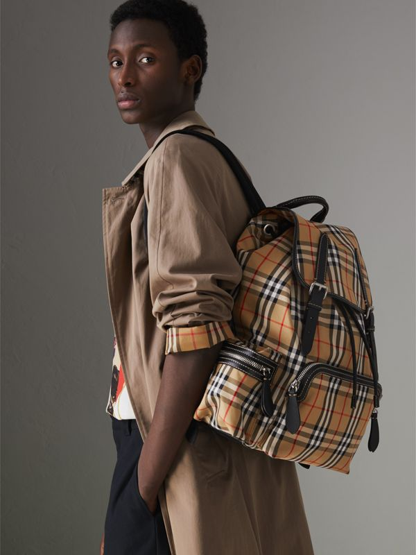 The Large Rucksack in Vintage Check and Leather in Antique Yellow - Men | Burberry Australia - cell image 3