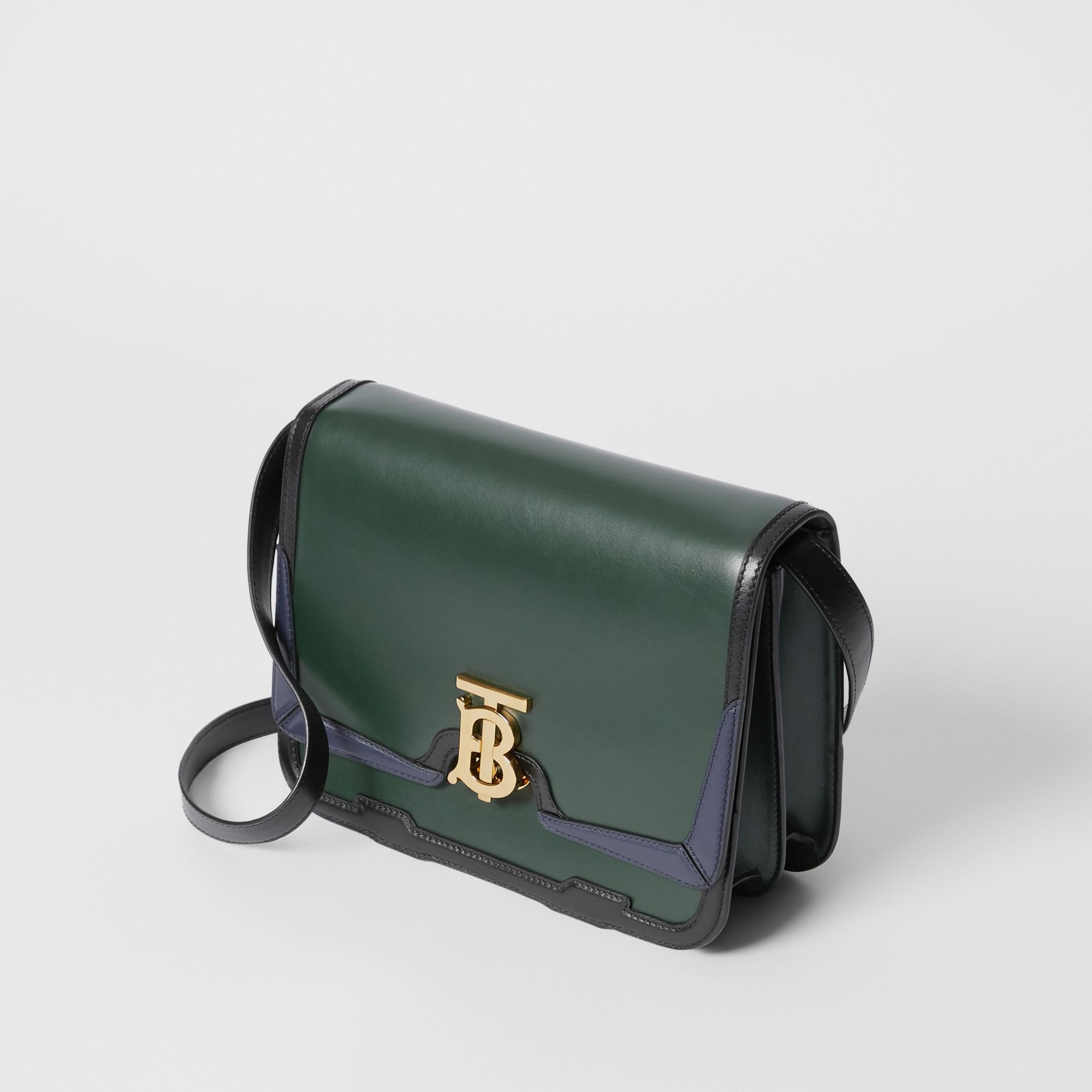 Medium Appliqué Leather TB Bag in Dark Pine Green - Women | Burberry United Kingdom - gallery image 2