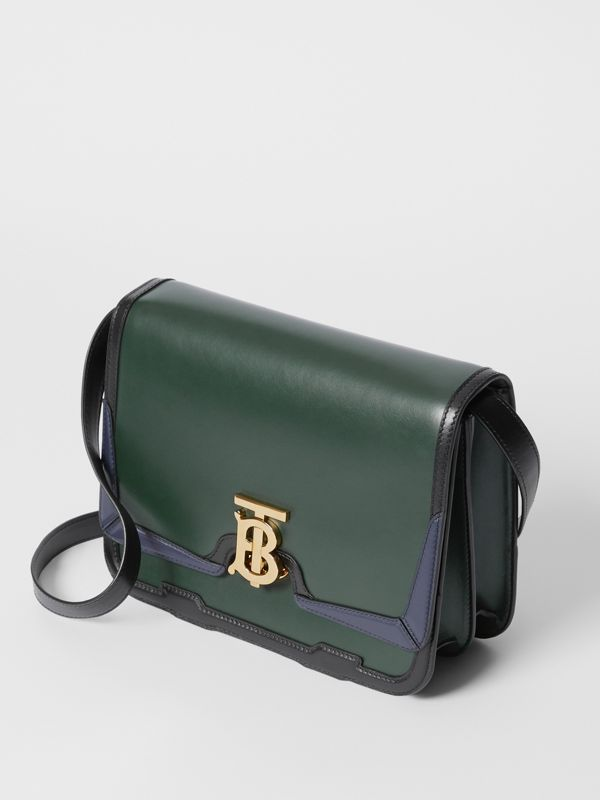 Medium Appliqué Leather TB Bag in Dark Pine Green - Women | Burberry United Kingdom - cell image 2