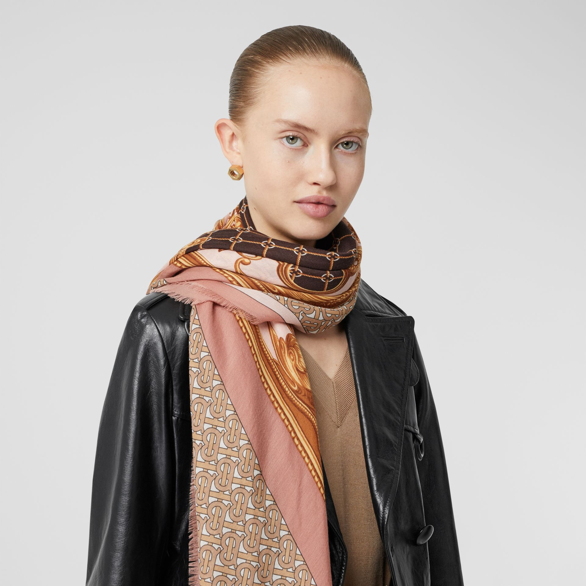 Archive Scarf Print Cashmere Large Square Scarf in Pale Blush | Burberry - gallery image 2