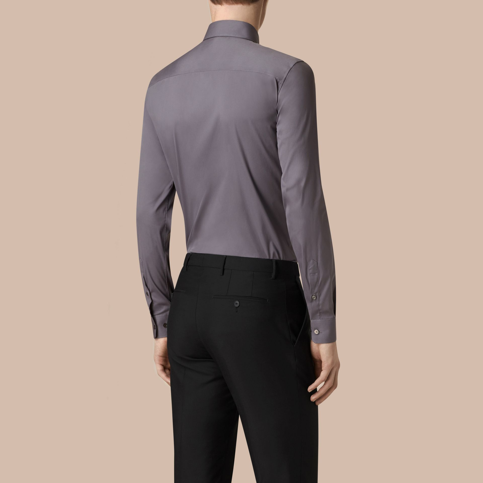 Slim Fit Stretch Cotton Shirt City Grey - gallery image 3
