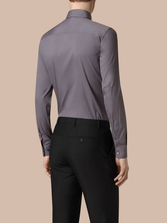 Slim Fit Stretch Cotton Shirt in City Grey - Men | Burberry - cell image 2