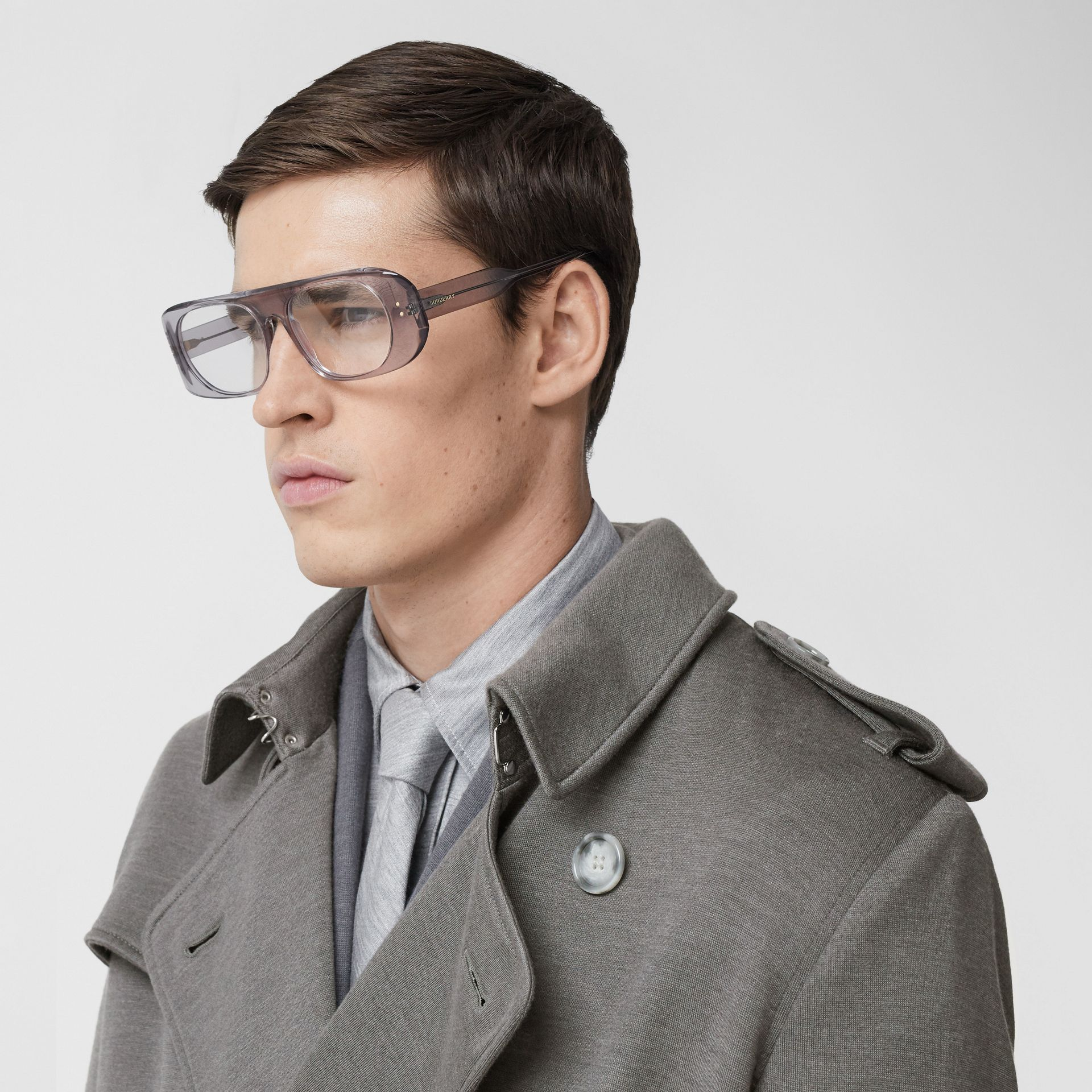 Cargo Pocket Detail Cashmere Silk Trench Coat in Cloud Grey - Men | Burberry - gallery image 5