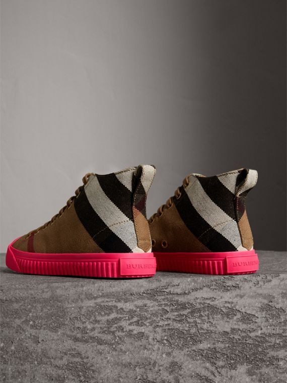 Canvas Check and Leather High-top Trainers in Classic - Women | Burberry - cell image 3