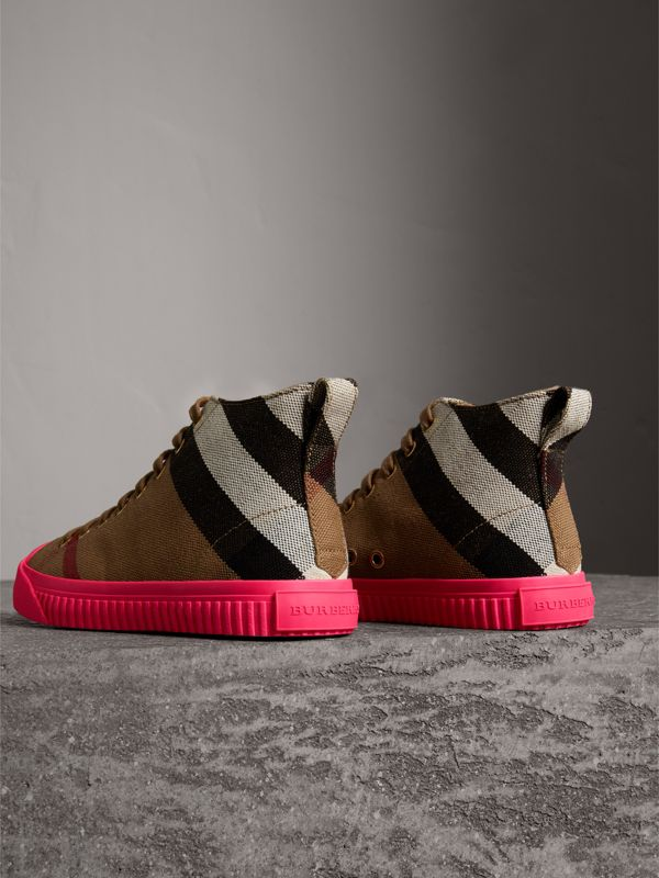 Canvas Check and Leather High-top Sneakers in Classic - Women | Burberry - cell image 3