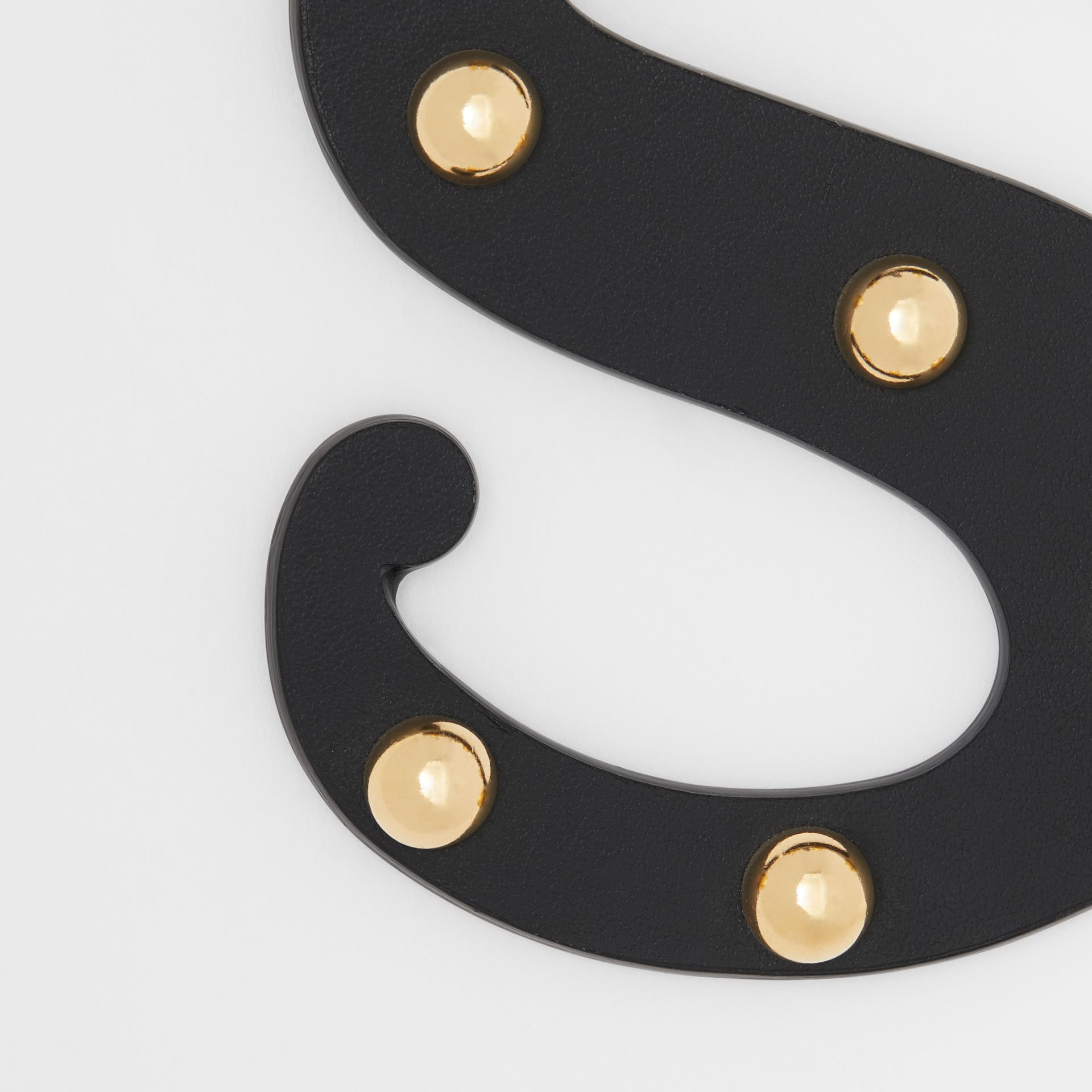 'S' Studded Leather Alphabet Charm in Black/light Gold - Women | Burberry - gallery image 1