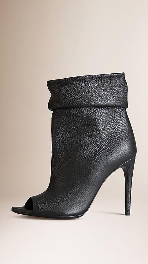 Black Peep-Toe Deerskin Boots - Image 1