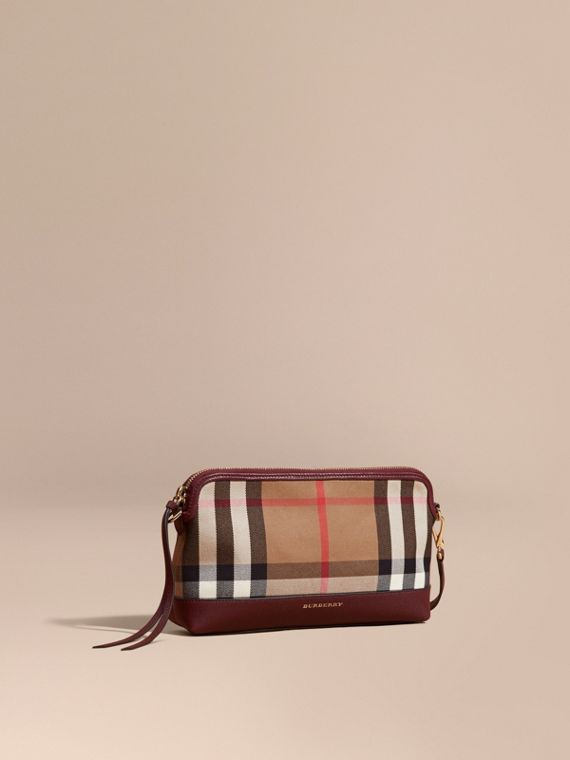 House Check and Leather Clutch Bag Mahogany Red