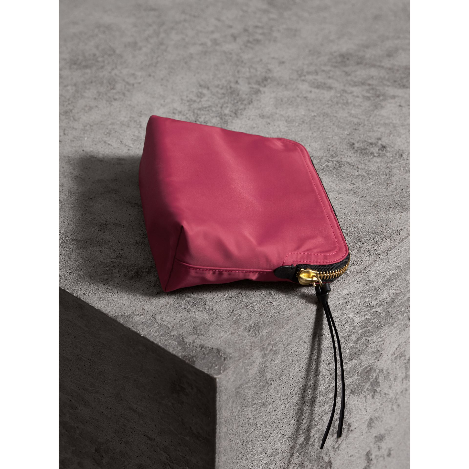 Large Zip-top Technical Nylon Pouch in Plum Pink - Women | Burberry Australia - gallery image 3