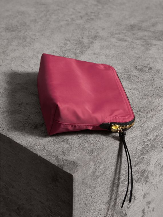 Large Zip-top Technical Nylon Pouch in Plum Pink - Women | Burberry Australia - cell image 2