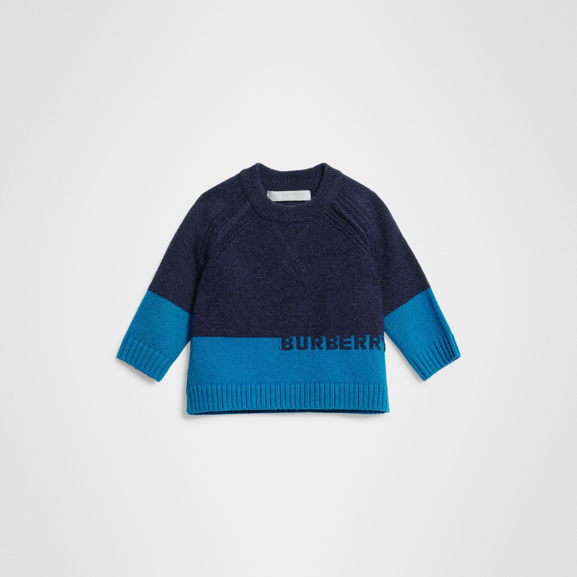 Logo Intarsia Cashmere Sweater in Navy - Children | Burberry United States - gallery image 0