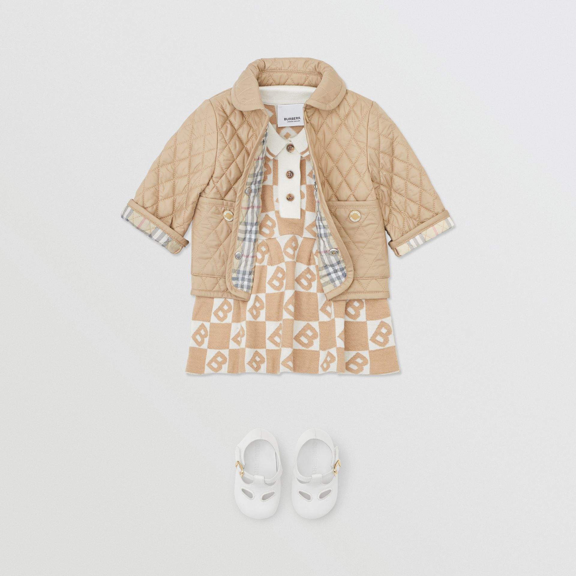 Showerproof Diamond Quilted Jacket in Walnut - Children | Burberry Hong Kong S.A.R - gallery image 2
