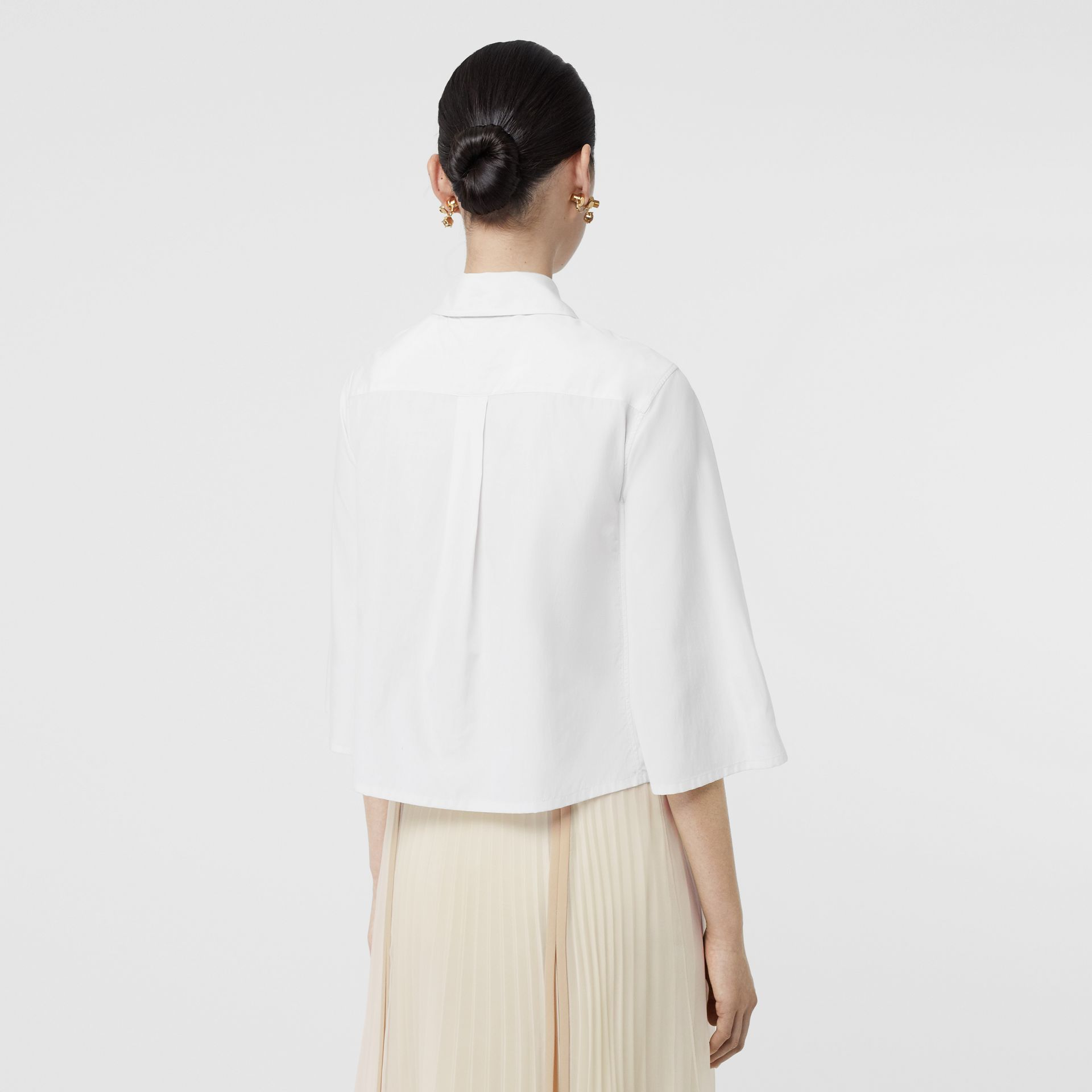 Silk Cotton Capelet Shirt in Optic White - Women | Burberry Singapore - gallery image 2