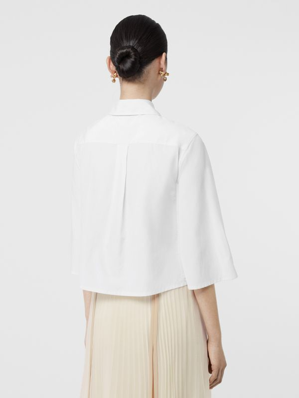 Silk Cotton Capelet Shirt in Optic White - Women | Burberry Singapore - cell image 2