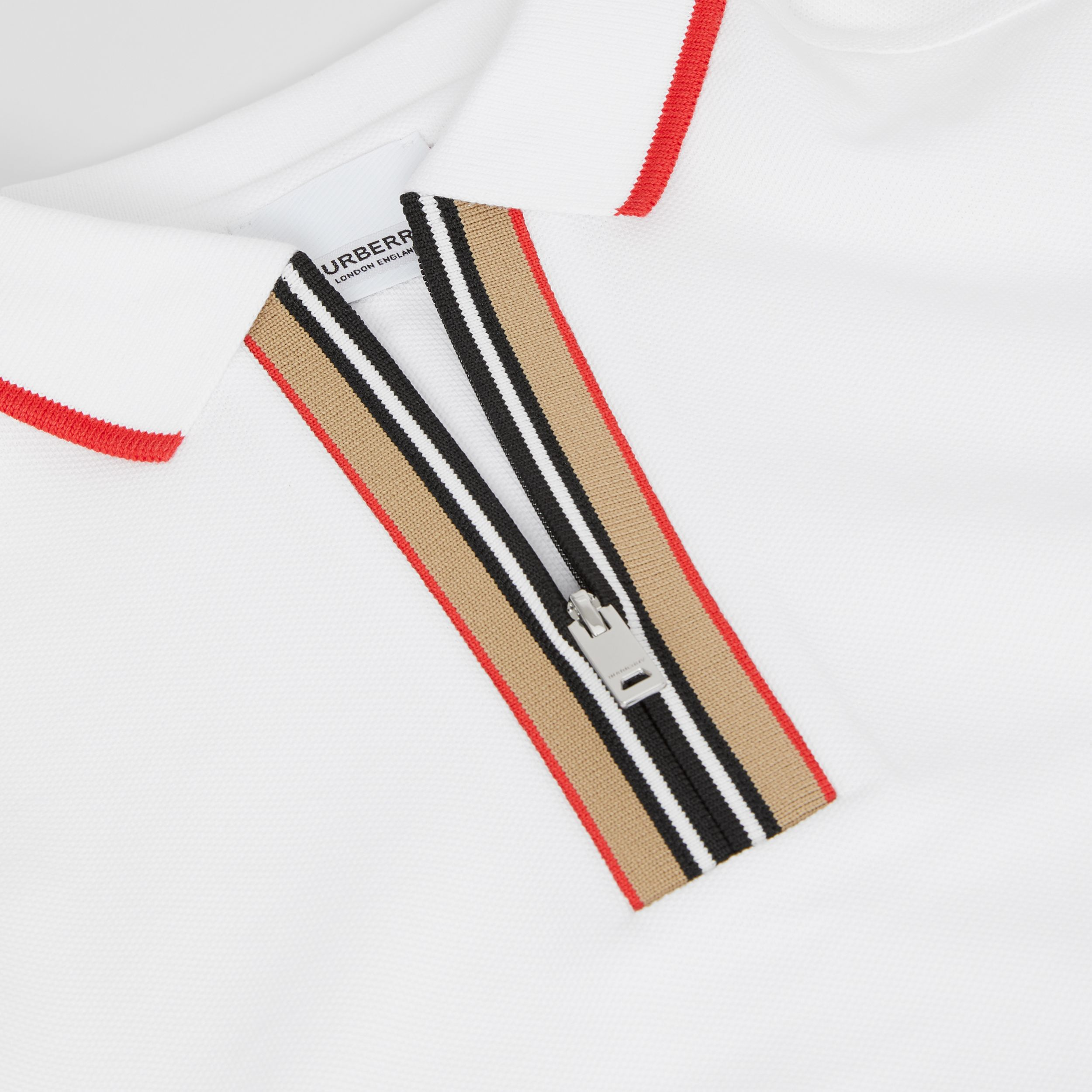 Icon Stripe Detail Cotton Zip-front Polo Shirt in White | Burberry - 2