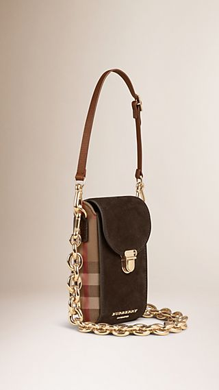 Suede and House Check Crossbody Bag with Chain