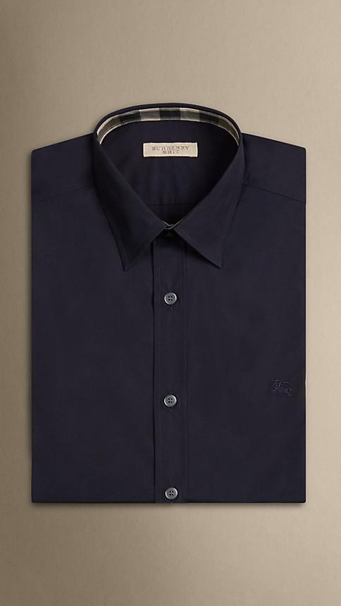 Navy Check Detail Stretch-Cotton Shirt - Image 3