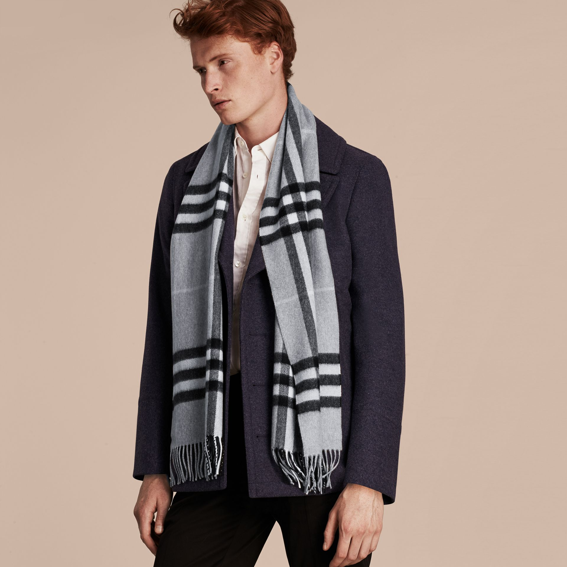The Classic Cashmere Scarf in Check Dusty Blue - gallery image 4