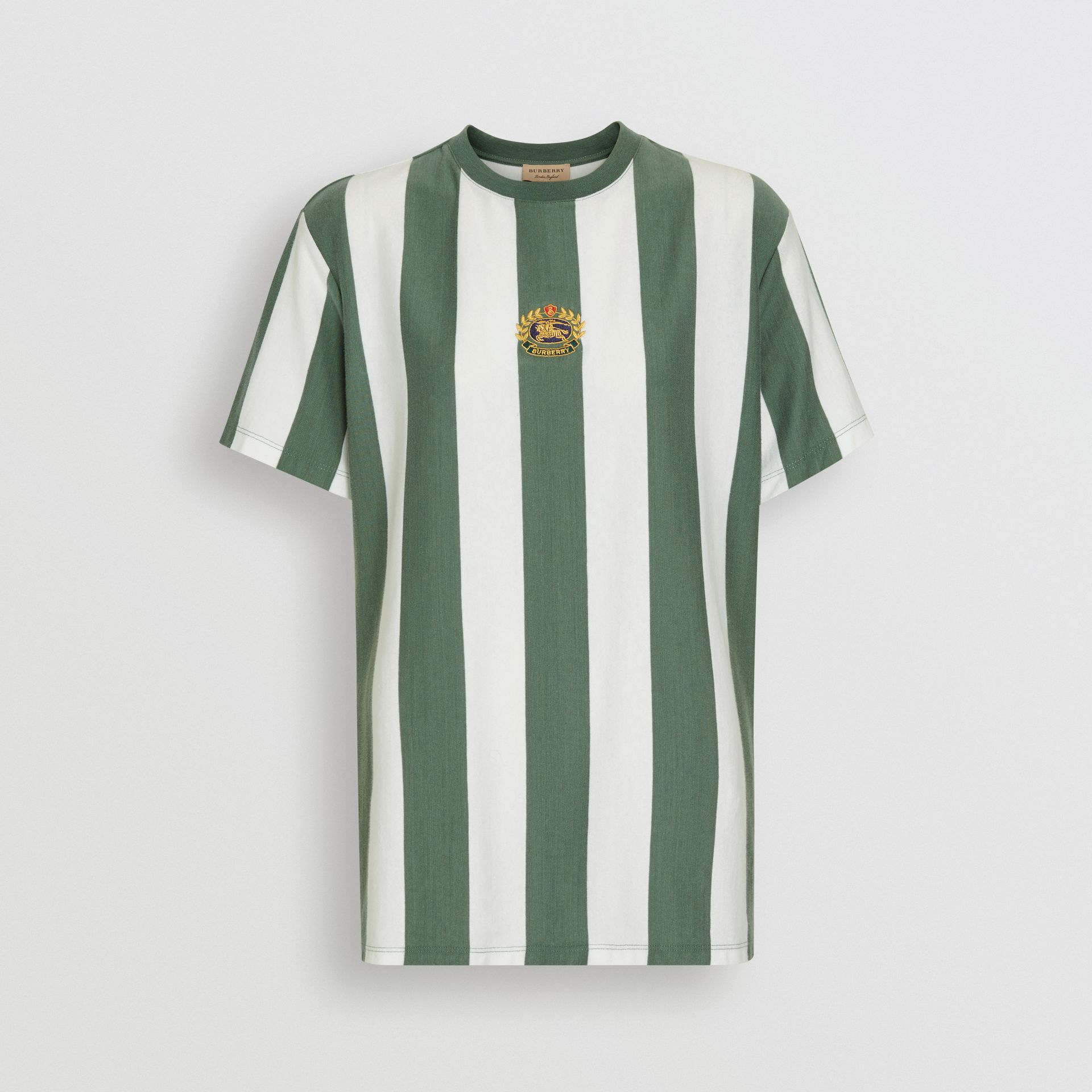 Embroidered Crest Striped Cotton T-shirt in Forest Green - Women | Burberry - gallery image 3