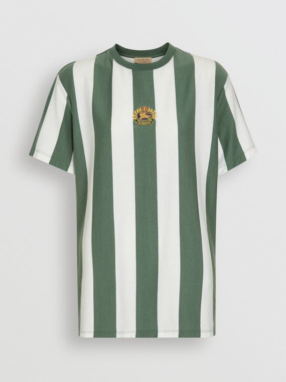 Embroidered Crest Striped Cotton T-shirt in Forest Green