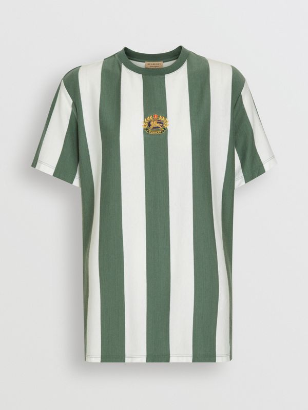 Embroidered Crest Striped Cotton T-shirt in Forest Green - Women | Burberry - cell image 3