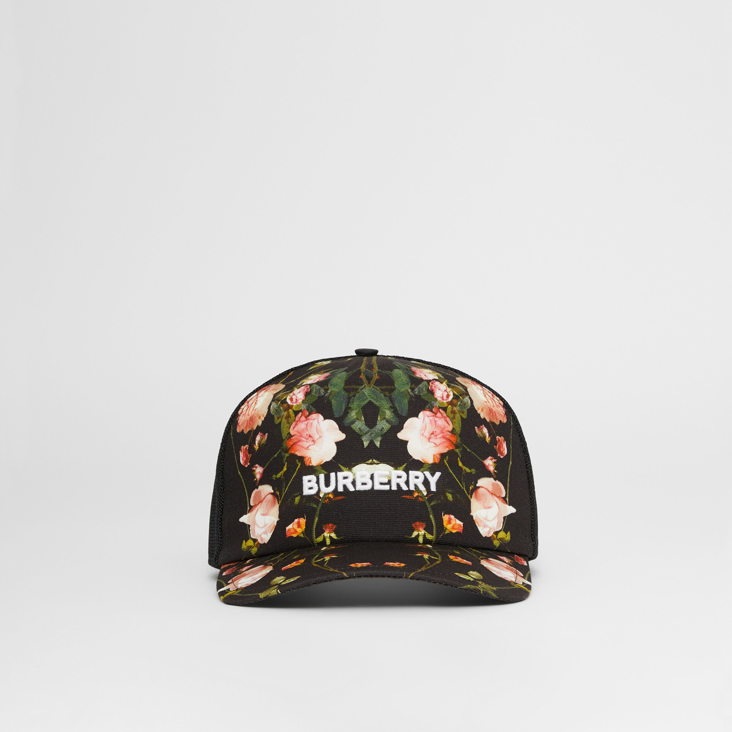 Rose Print Cotton and Mesh Baseball Cap in Black | Burberry - 1