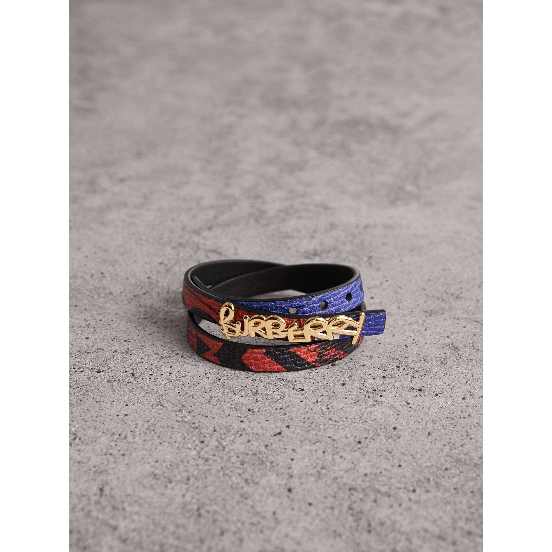 Doodle Detail Reversible Leather  Bracelet in Red/blue - Women | Burberry United Kingdom - gallery image 1