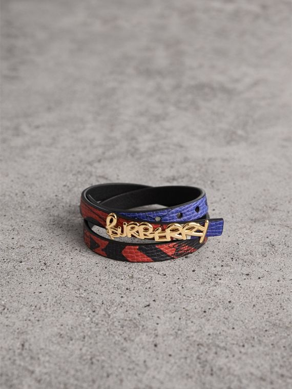 Doodle Detail Reversible Leather  Bracelet in Red/blue