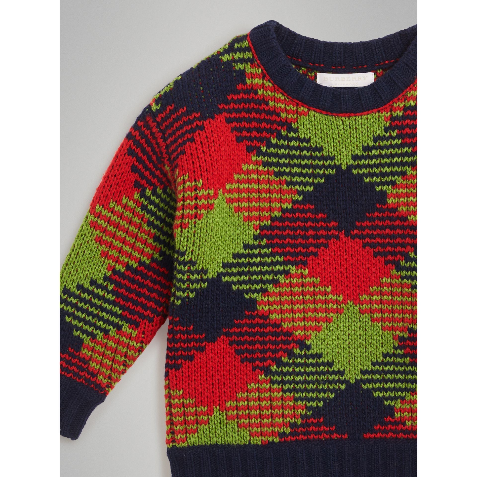Check Intarsia Wool Blend Sweater in Bright Red | Burberry - gallery image 4