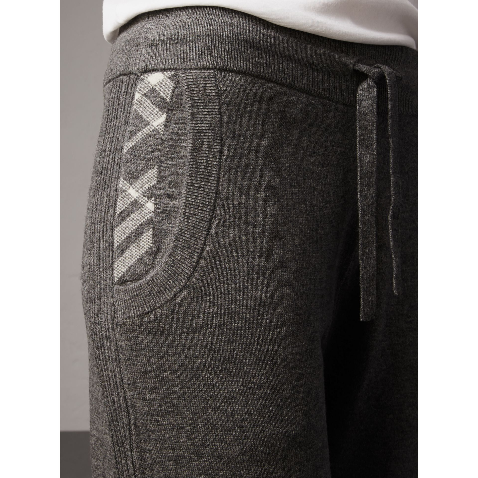 Check Detail Wool Cashmere Sweatpants in Mid Grey Melange - Women | Burberry - gallery image 1