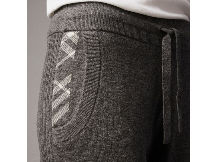 Check Detail Wool Cashmere Sweatpants in Mid Grey Melange - Women | Burberry - cell image 1