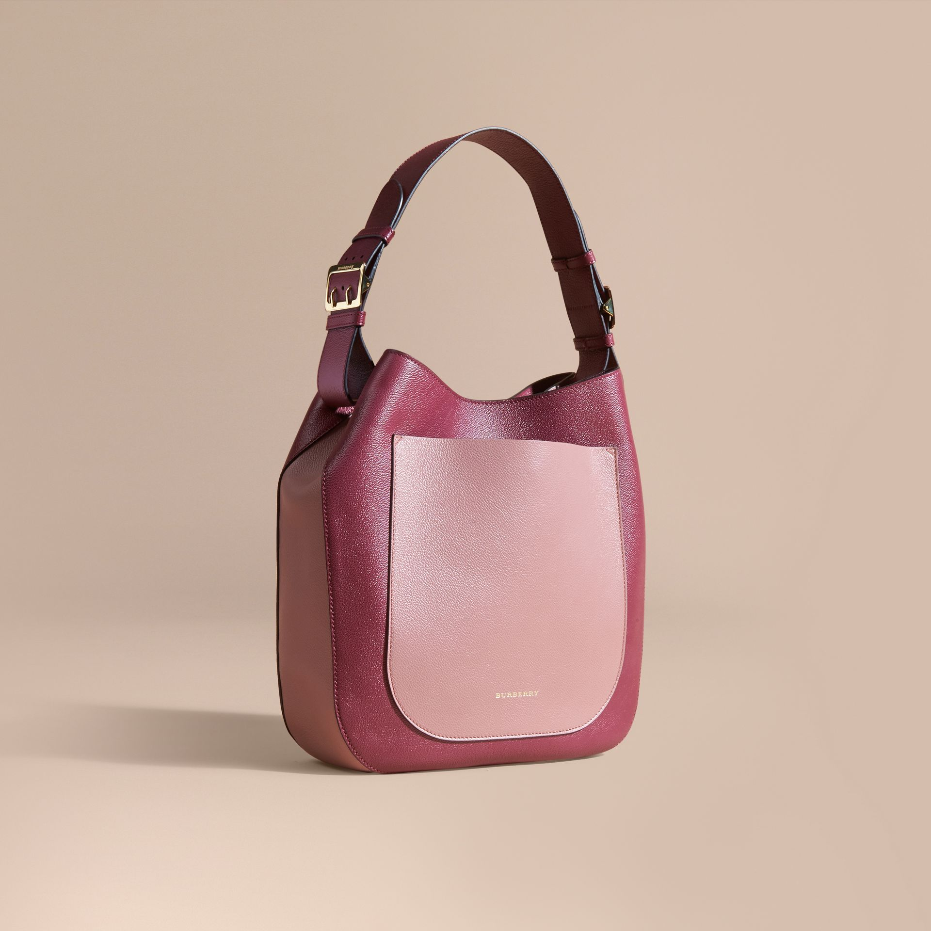 Textured Leather Shoulder Bag in Dark Plum/ Dusty Pink - gallery image 1