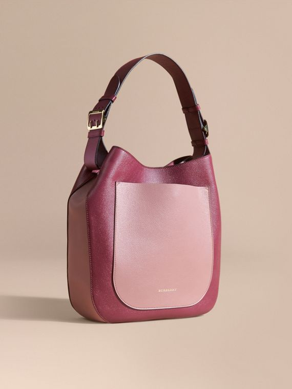 Textured Leather Shoulder Bag Dark Plum/ Dusty Pink