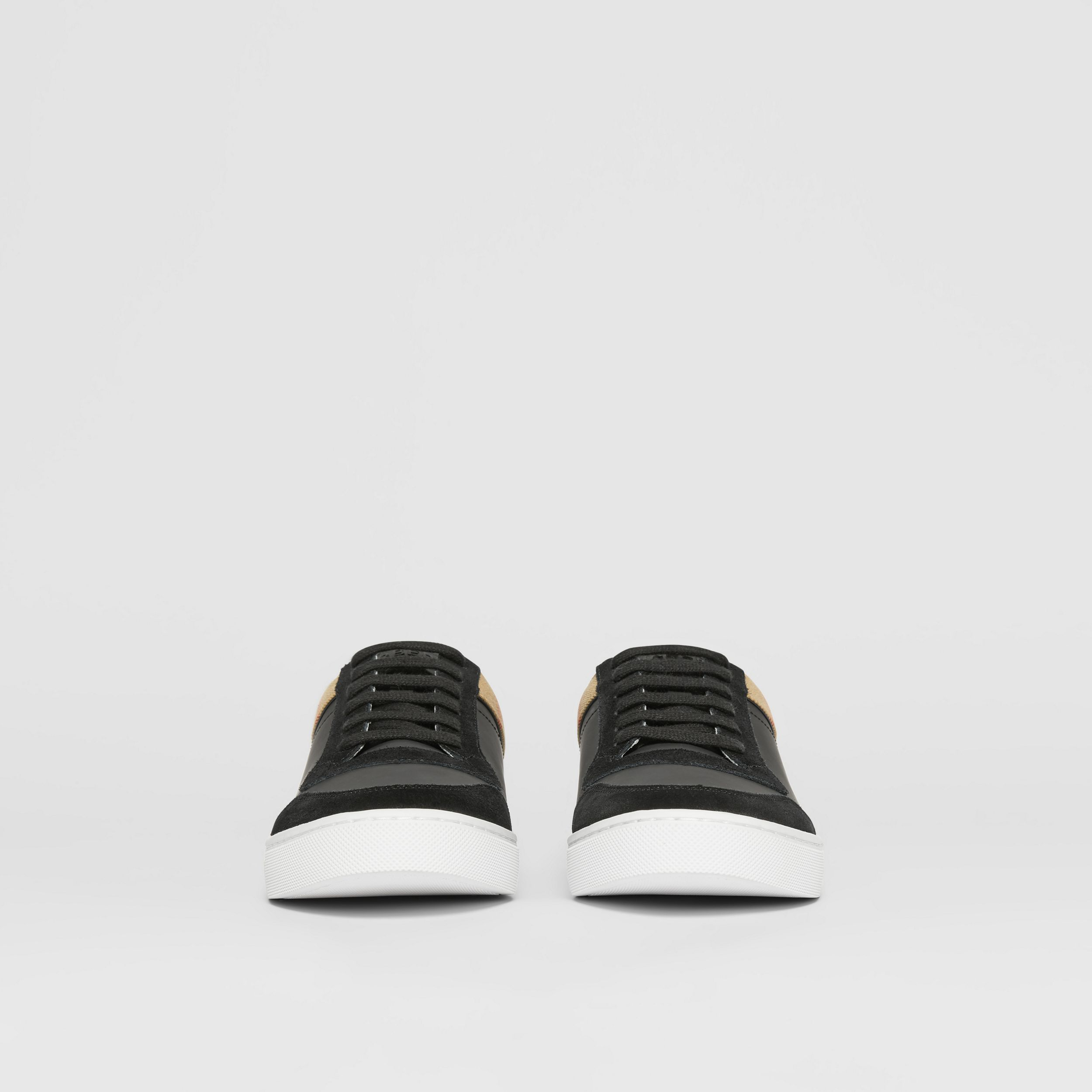 Leather, Suede and House Check Sneakers in Black - Men | Burberry United States - 4