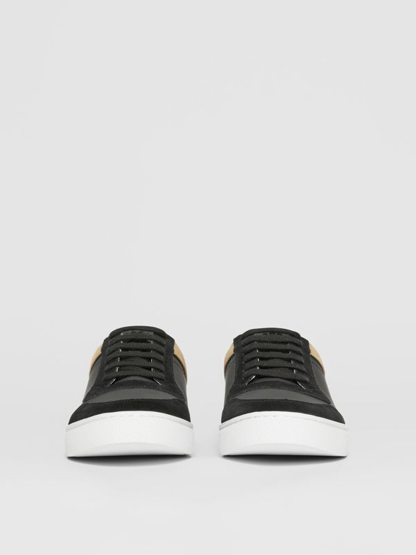 Leather, Suede and House Check Sneakers in Black - Men | Burberry United States - cell image 3
