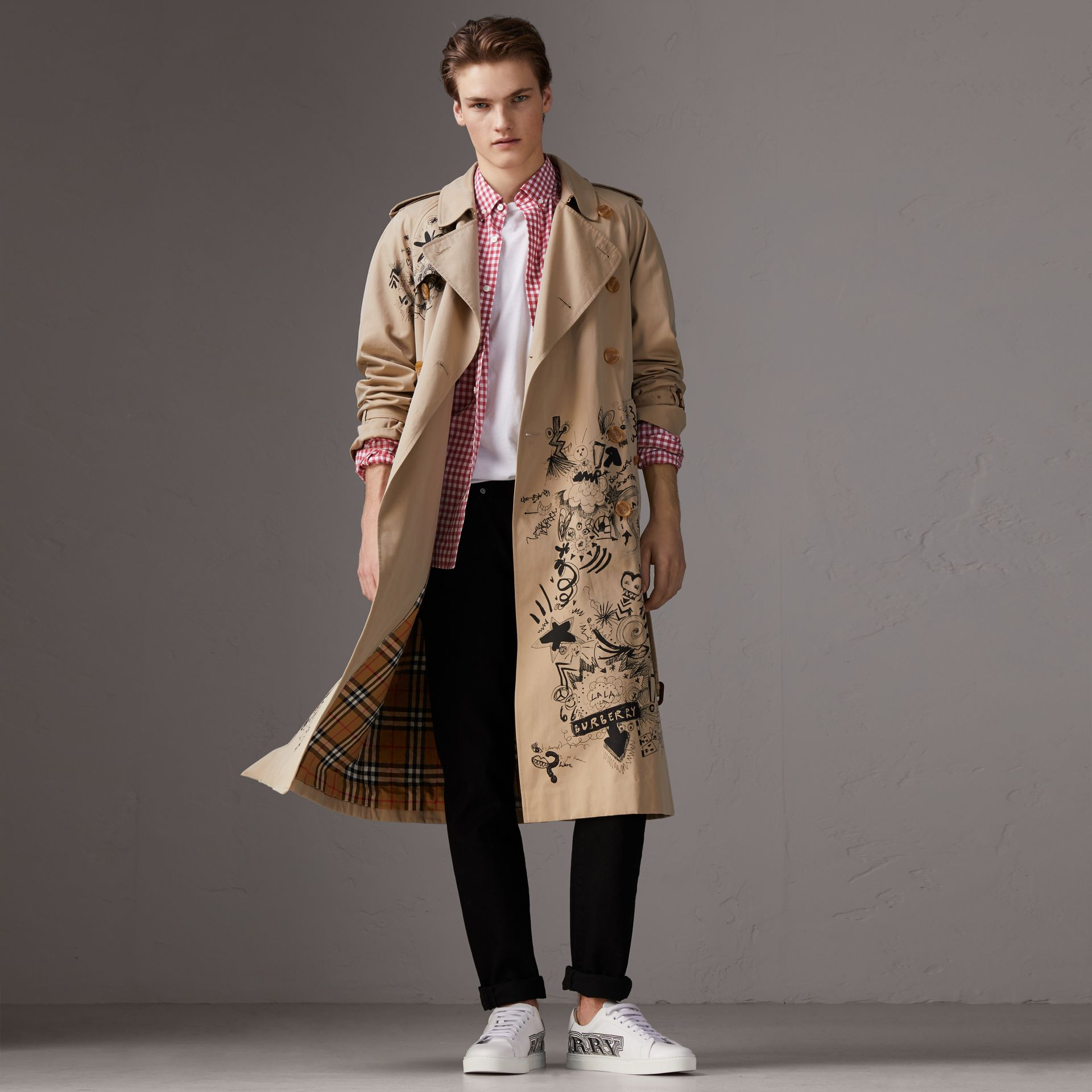 Button-down Collar Gingham Cotton Shirt in Pink Azalea - Men | Burberry - gallery image 0