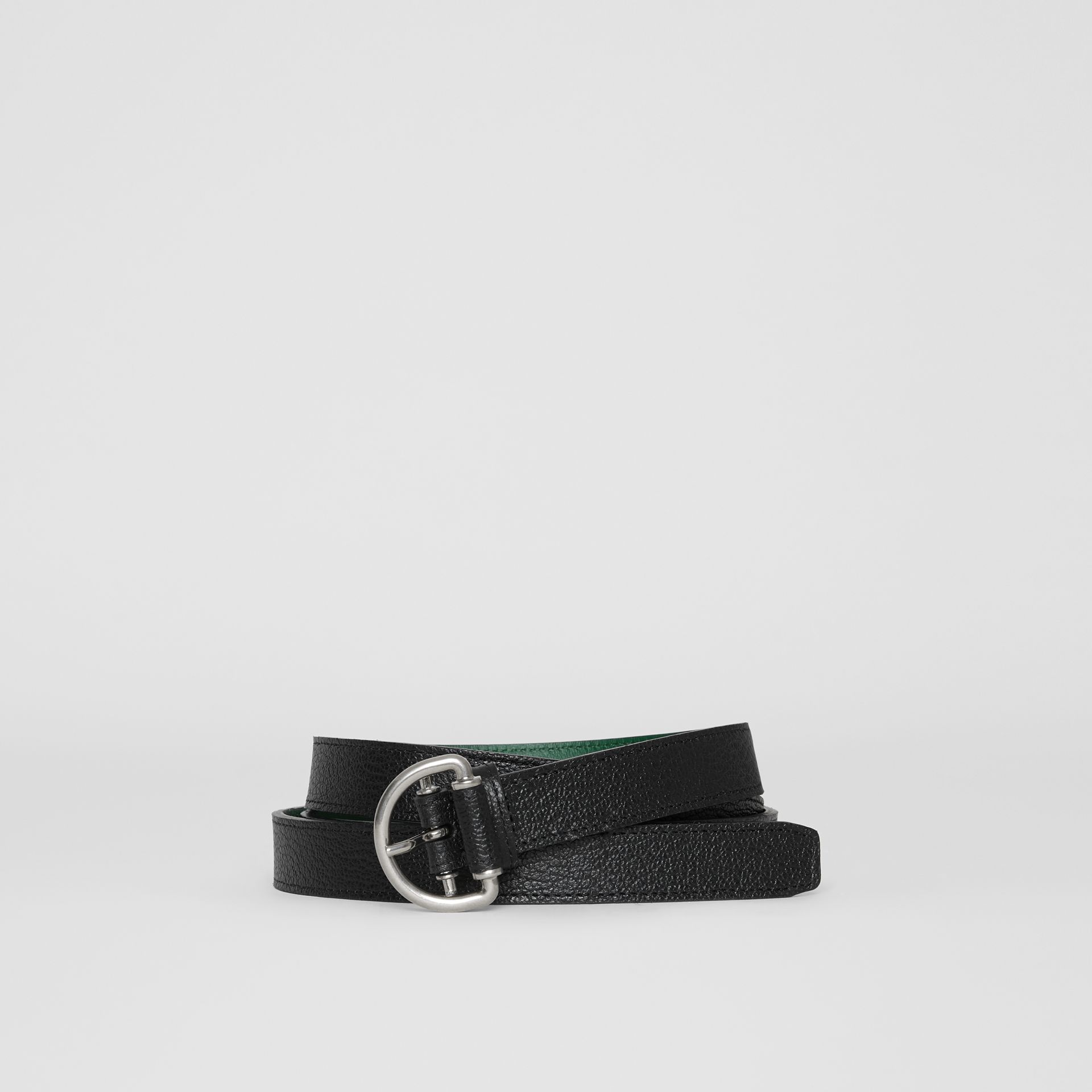 Grainy Leather D-ring Belt in Black/sea Green - Women | Burberry - gallery image 0