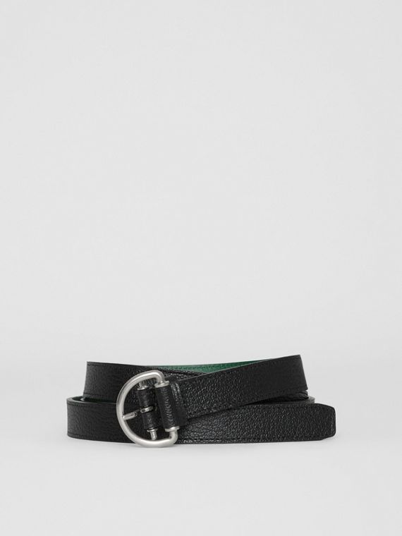 Grainy Leather D-ring Belt in Black/sea Green