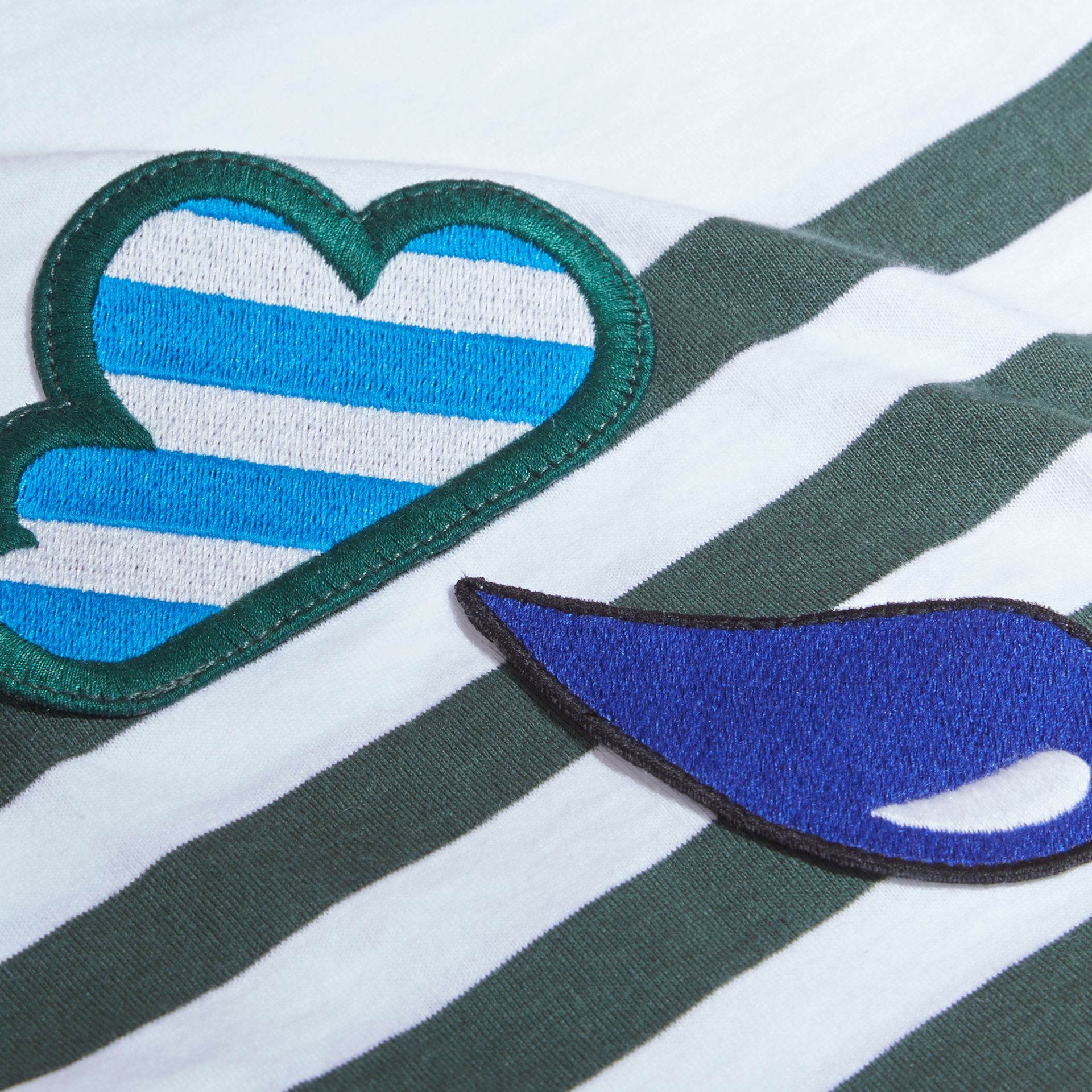 Striped Cotton Two-piece Baby Gift Set with Appliqué Racing Green - gallery image 2