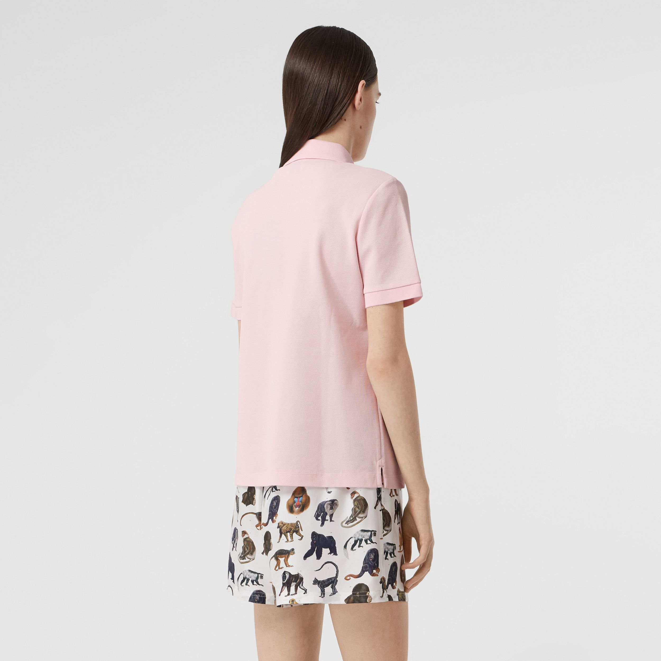 Monogram Motif Cotton Piqué Polo Shirt in Alabaster Pink - Women | Burberry - 3