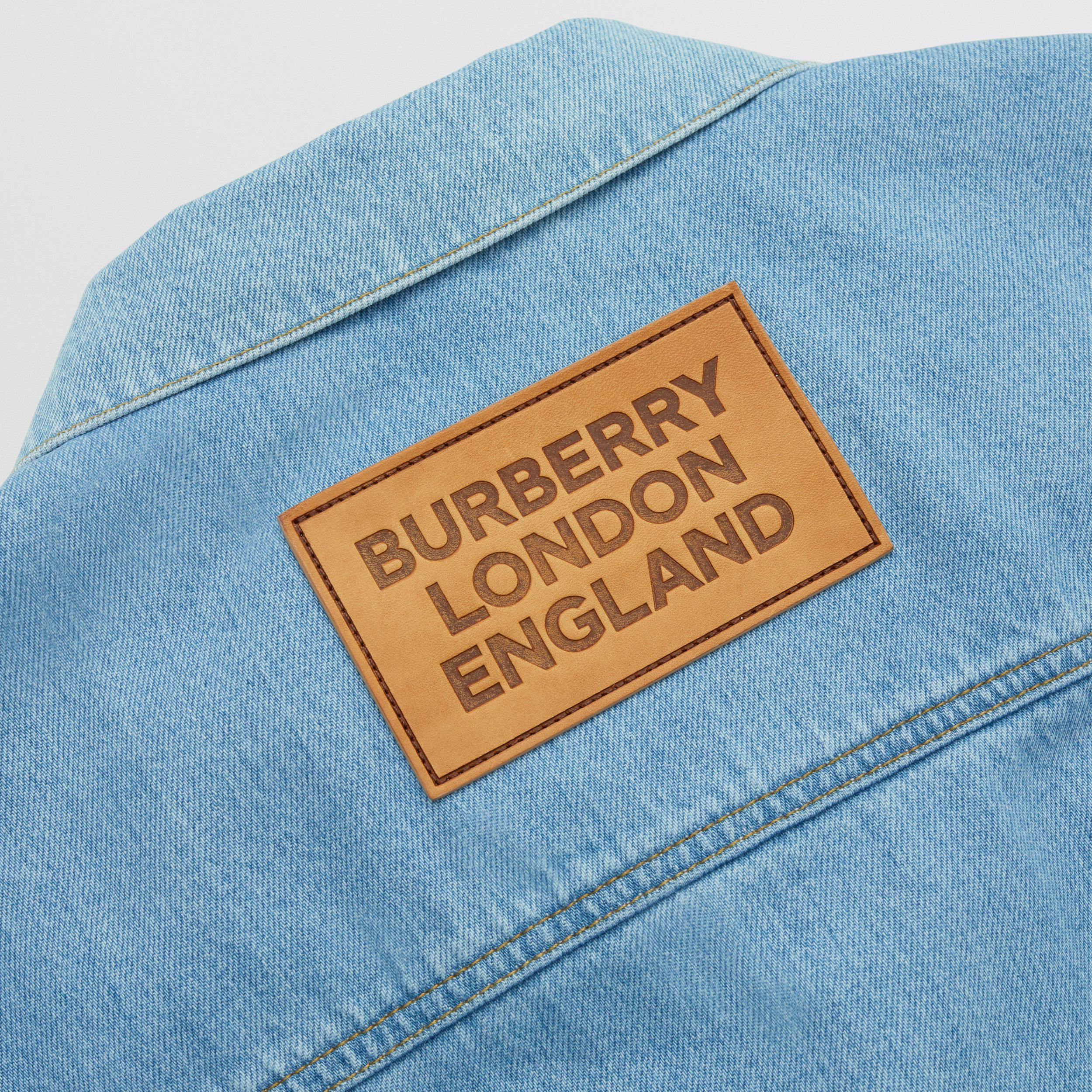 Logo Appliqué Japanese Denim Jacket in Light Indigo Blue - Men | Burberry - 4