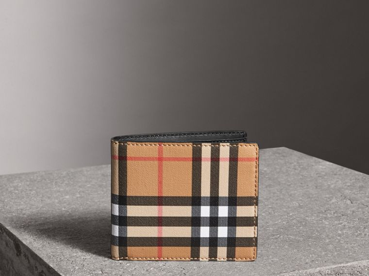 Vintage Check International Bifold Wallet in Black - Men | Burberry - cell image 4