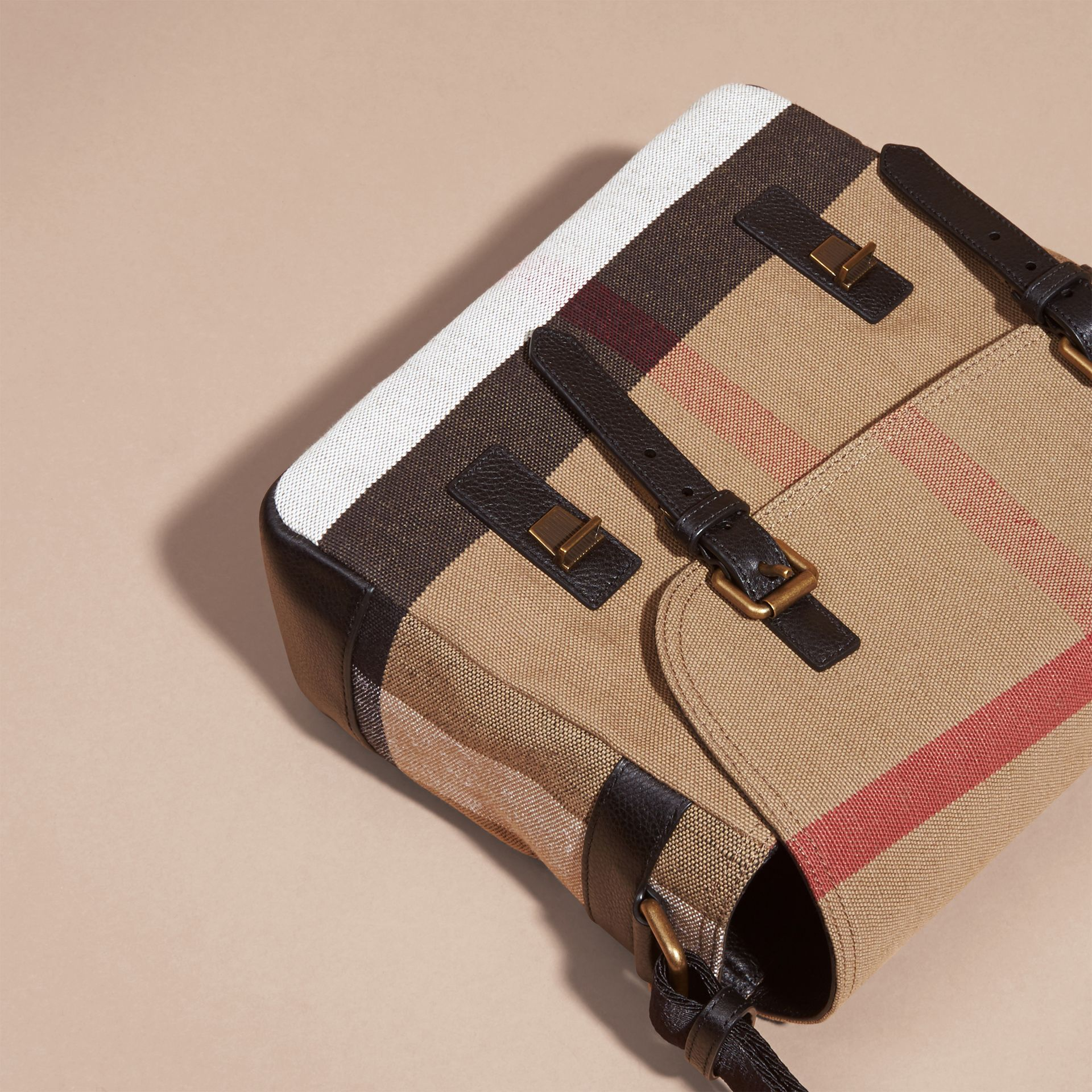 Small Canvas Check Messenger Bag in Black - Men | Burberry Hong Kong - gallery image 6