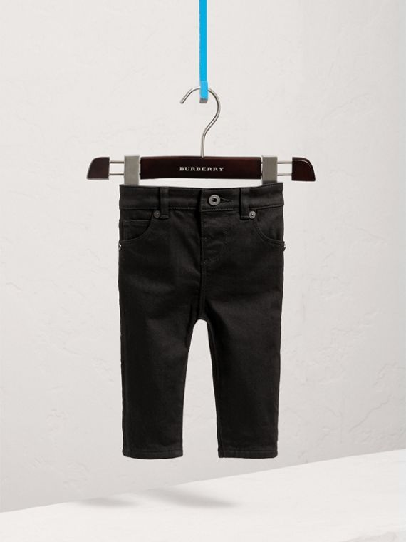 Skinny Fit Stretch Denim Jeans in Black | Burberry - cell image 2