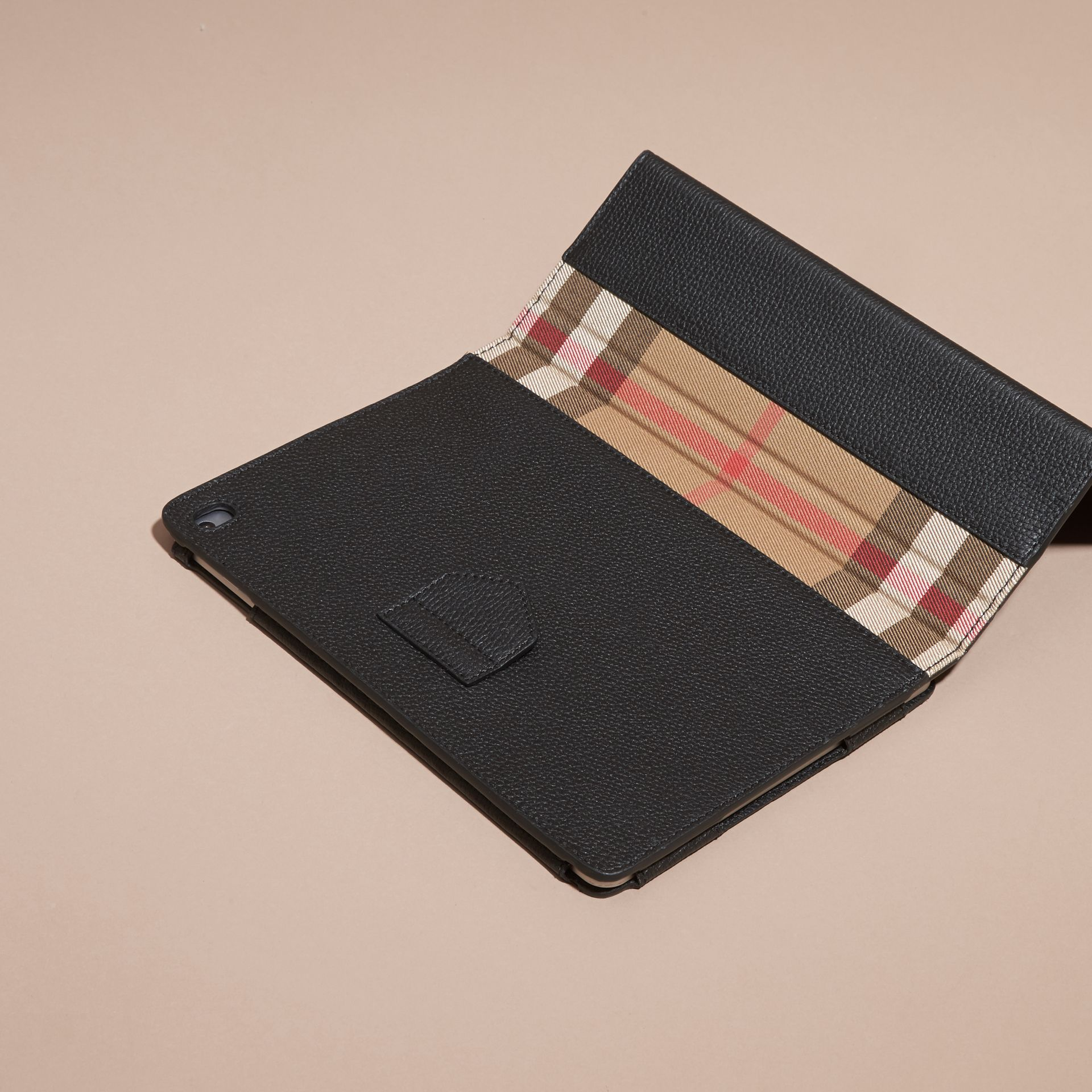 Black Grainy Leather and House Check iPad Case Black - gallery image 4