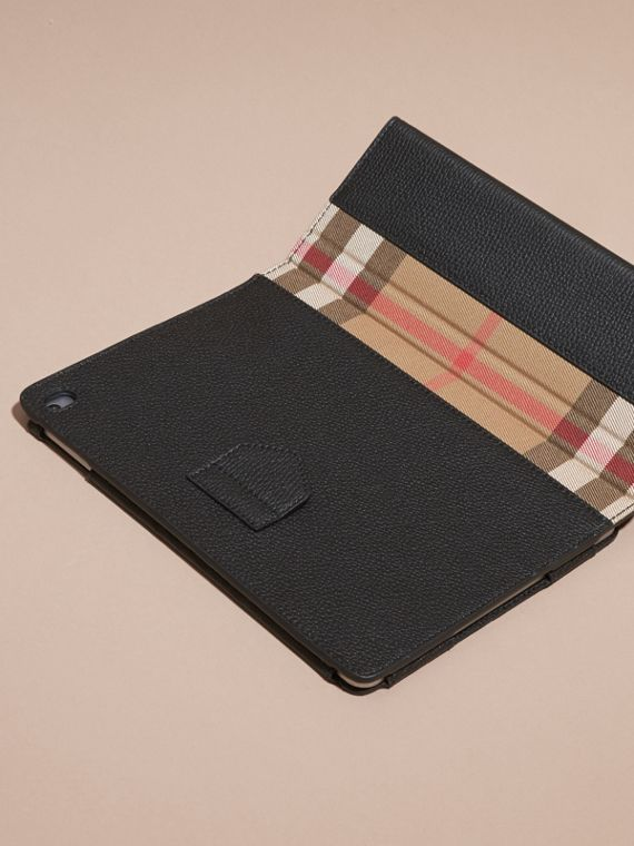 Black Grainy Leather and House Check iPad Case Black - cell image 3