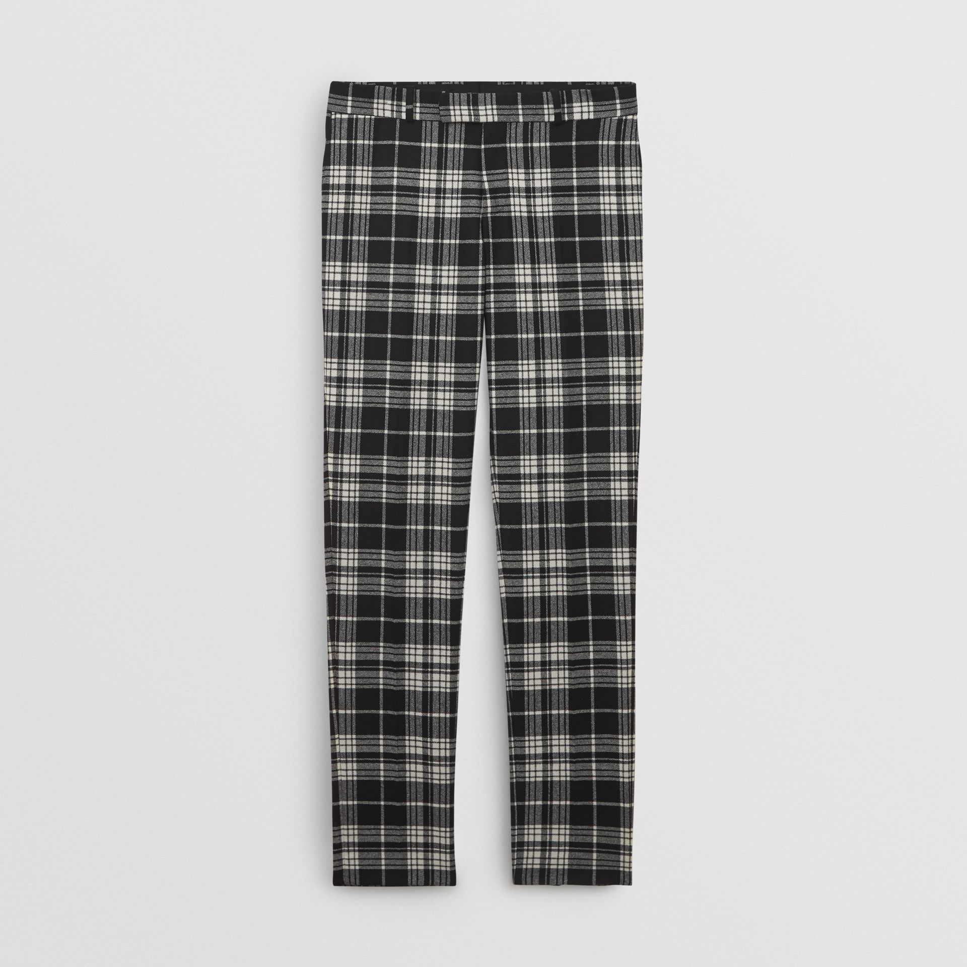 Slim Fit Tartan Wool Cashmere Tailored Trousers in Black - Men | Burberry Singapore - gallery image 3