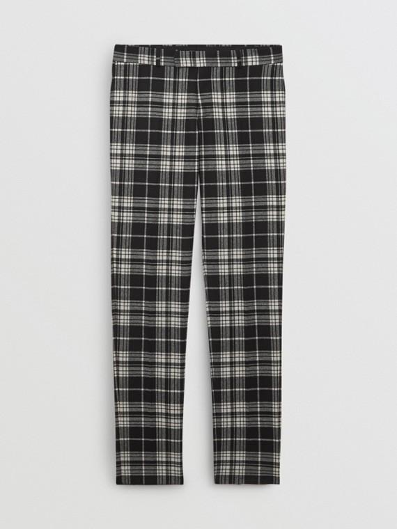 Pantalon de costume slim en laine tartan et cachemire (Noir)