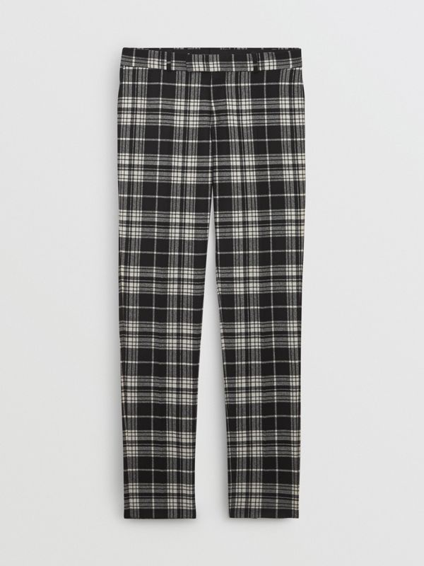 Slim Fit Tartan Wool Cashmere Tailored Trousers in Black - Men | Burberry Singapore - cell image 3