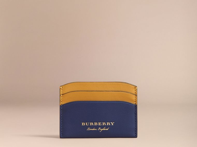 Two-tone Trench Leather Card Case in Ink Blue/ochre Yellow - cell image 4